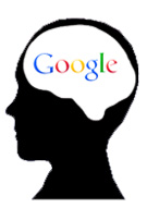 Google logo inside brain illustration.