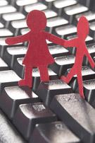 Human paper cutouts holding hands (sharing illustration).
