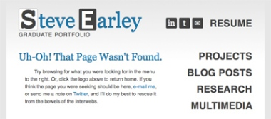 Screengrab of custom Page Not Found 404 error page