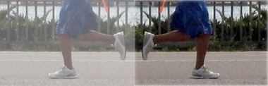 Photo illustration, runner's legs, mirror effect