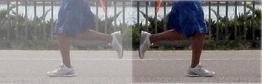 Photo illustration, runner's legs, mirror effect