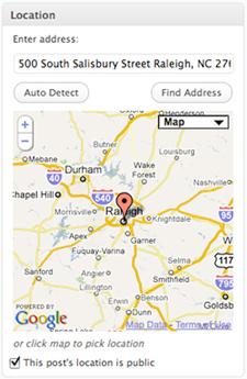 Screengrab of WordPress.Com window for geotagging a blog post