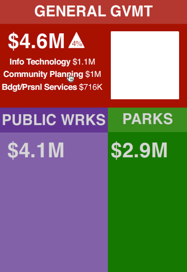 Screengrab of treemap city budget visualization made in Flash