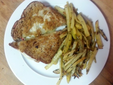 apple provolone grilled cheese rosemary garlic fries